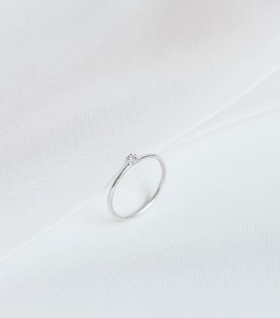 Каблучка «Роса» з білим камінчиком