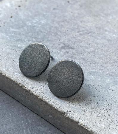 """Сережки """"ДИСКИ"""" брашовані (16 мм) з чорнінням"""