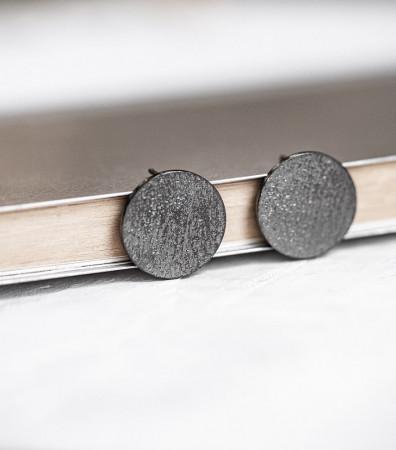 """Сережки """"ДИСКИ"""" фактурні чорнені (20 мм)"""