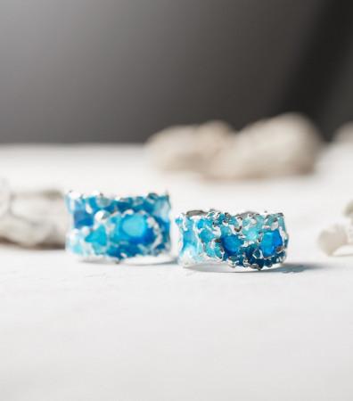 """Пара обручок """"ШТОРМ"""" синій (10 мм і 13 мм) світлий"""