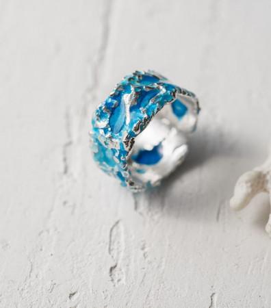 Каблучка «ШТОРМ» синій (10 мм) світлий