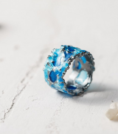 Каблучка «ШТОРМ» синій (13 мм) чорнений