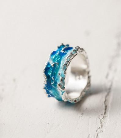 Каблучка «ХВИЛЯ» синя (10 мм)