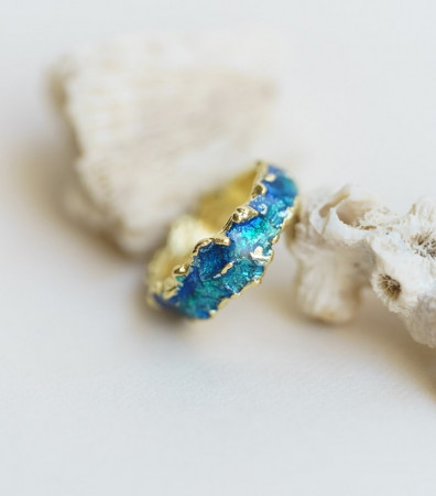 Каблучка «ХВИЛЯ» синя (6 мм)