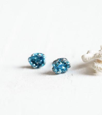 """Сережки """"ШТОРМ"""" міні, сині чорнені"""
