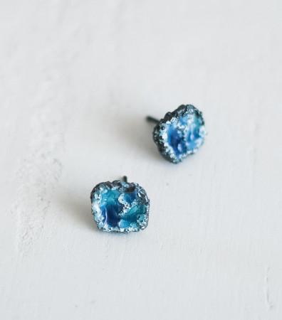 Сережки «ШТОРМ» сині чорнені