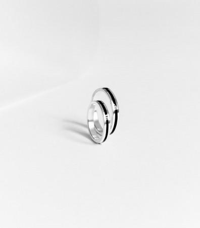 Пара обручок «ЧОРНІ НИТКИ» (3 та 3 мм)