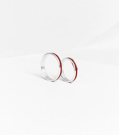 Пара обручок «ЧЕРВОНІ НИТКИ» (3 та 3 мм)