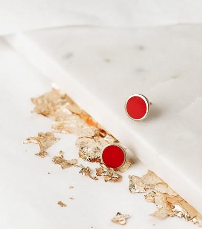 Сережки-пусети «ЯПОНСЬКЕ СОНЦЕ» (12 мм)